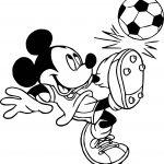 Soccer Player Mickey Mouse Kicks Ball Playing Football Coloring Page