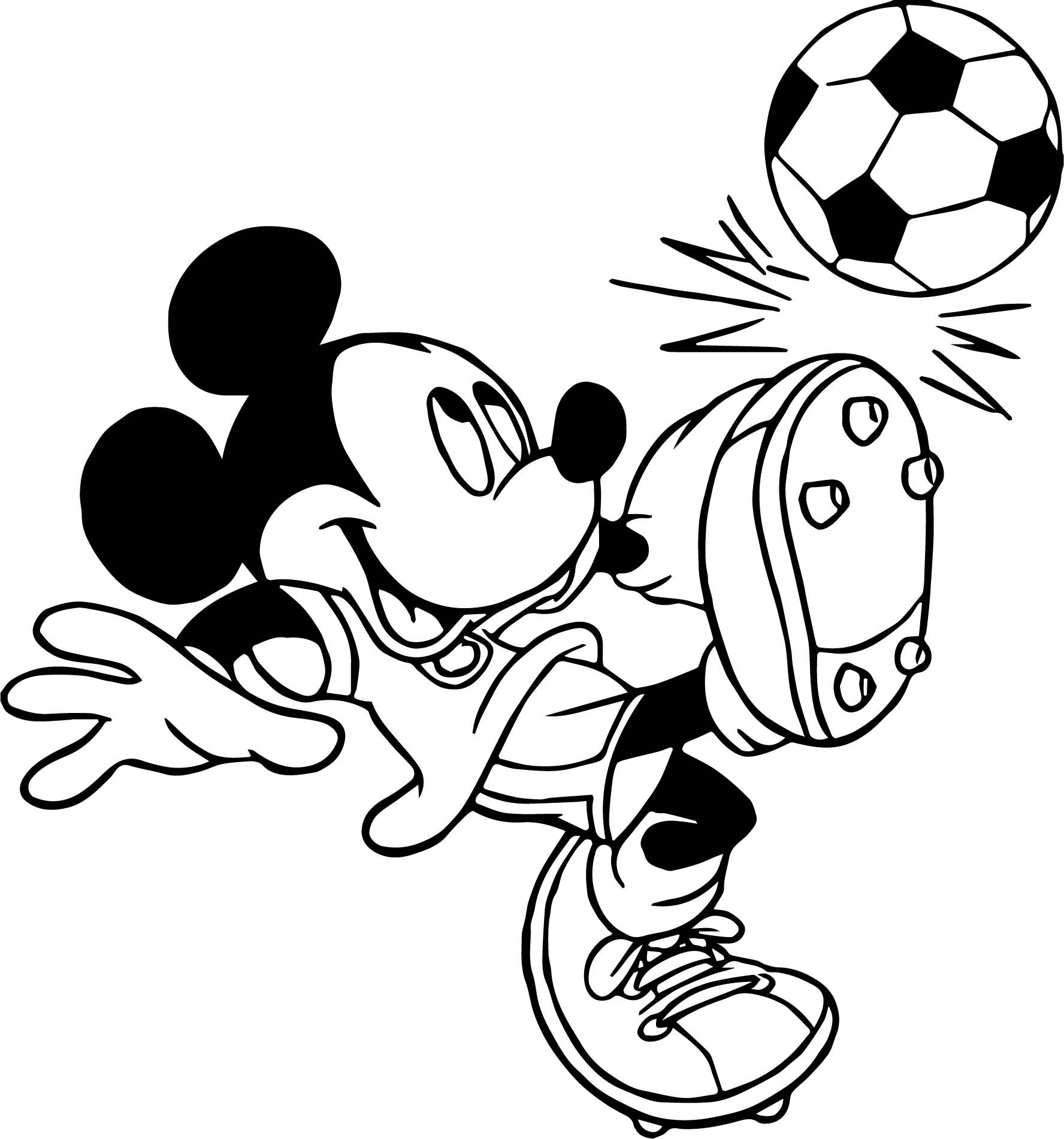 soccer player mickey mouse kicks ball playing football coloring