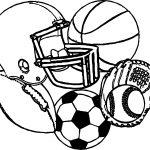 Sports Equipment Football Baseball Basketball Soccer Coloring Page