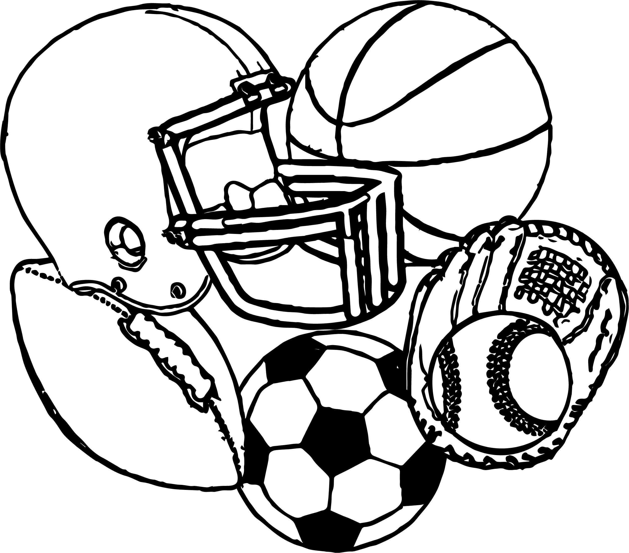 sports equipment football baseball basketball soccer coloring page