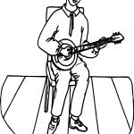 Staying Boy And Playing The Guitar Coloring Page