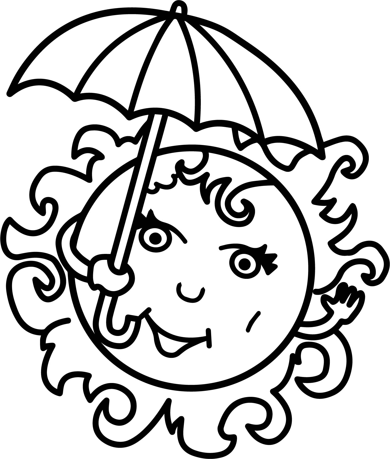 Summer Girl Sun Free Coloring Page | Wecoloringpage.com