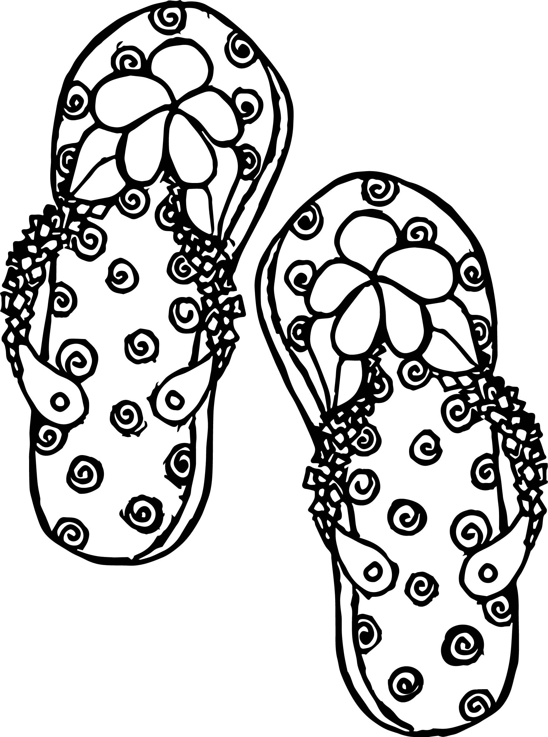 summer slipper coloring page wecoloringpagecom