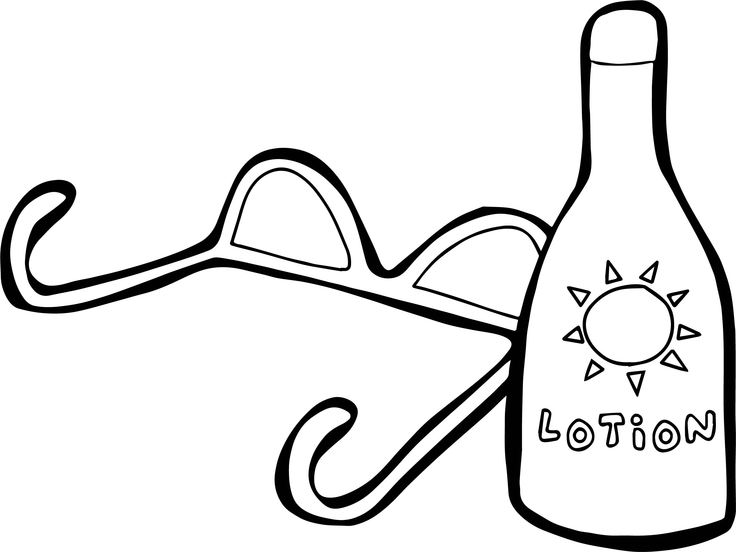 sun with sunglasses and lotion summer coloring page - Summer Coloring Page