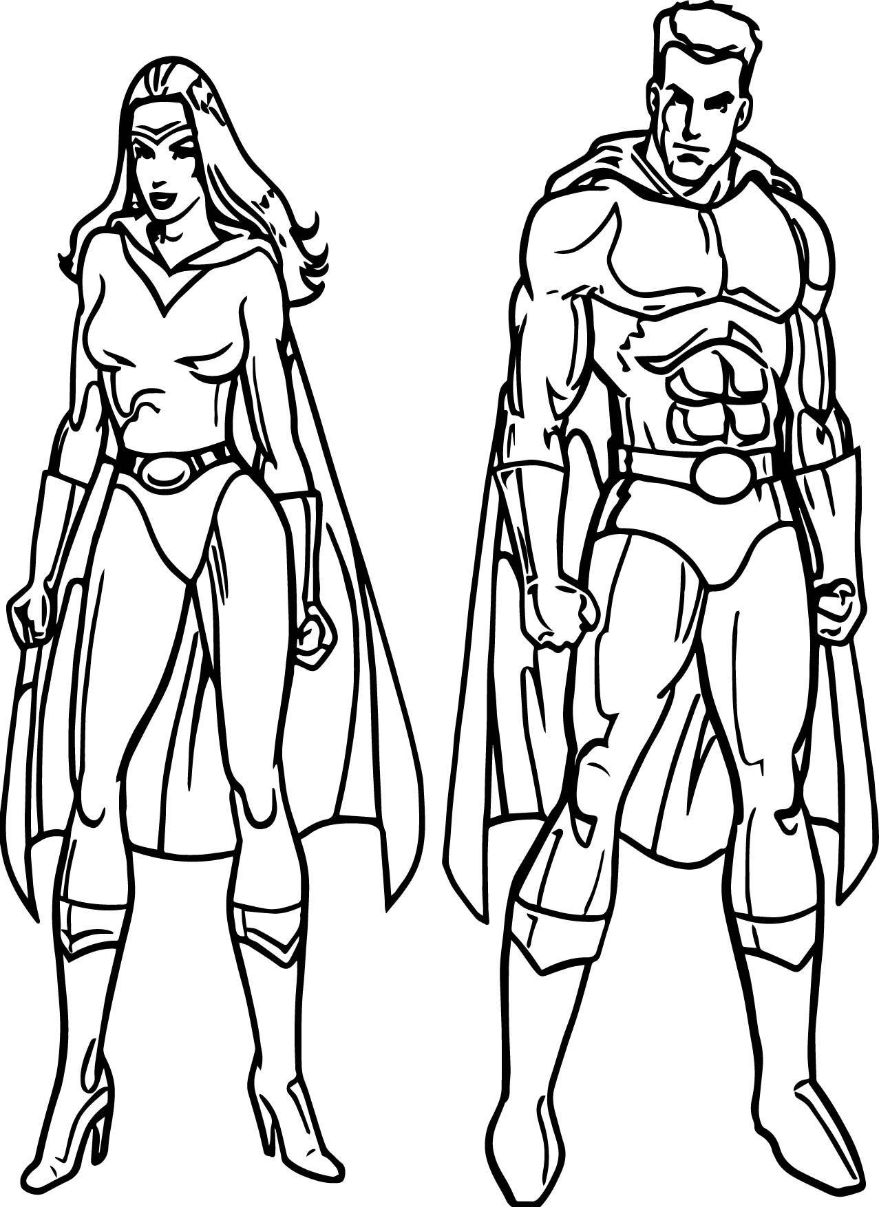 Superheroes Super Hero Man Woman Coloring Page