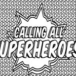 Superheroes Super Hero Popart Text Coloring Page