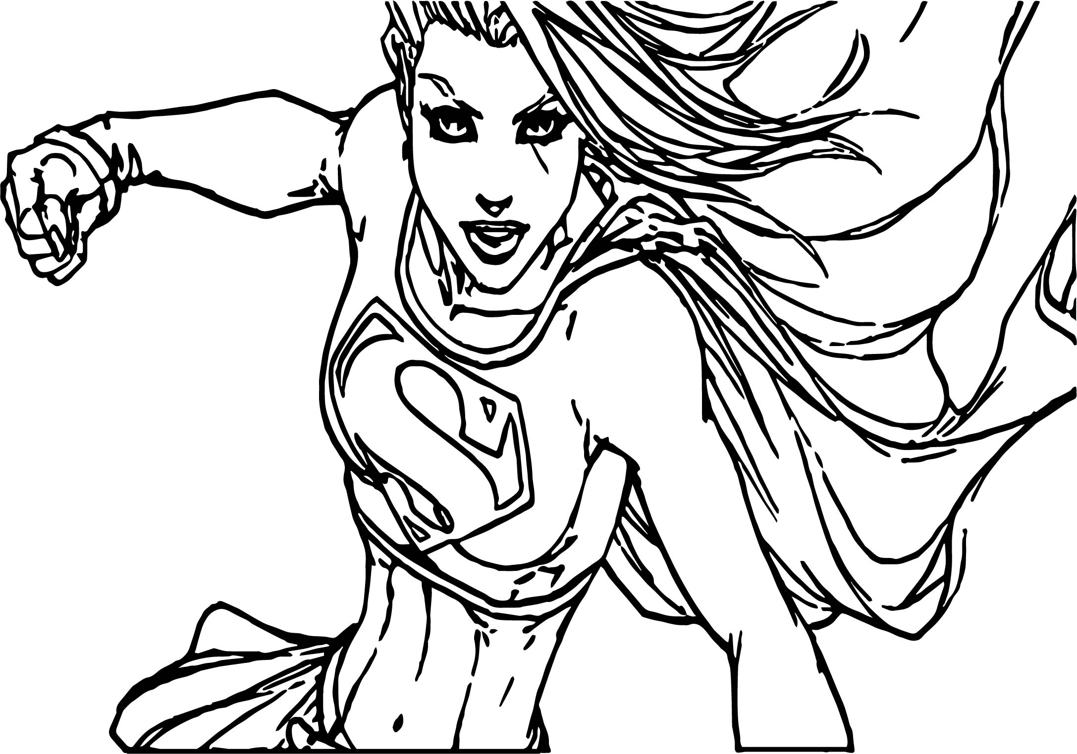 Superman Girl Superheroes Super Hero Coloring Page