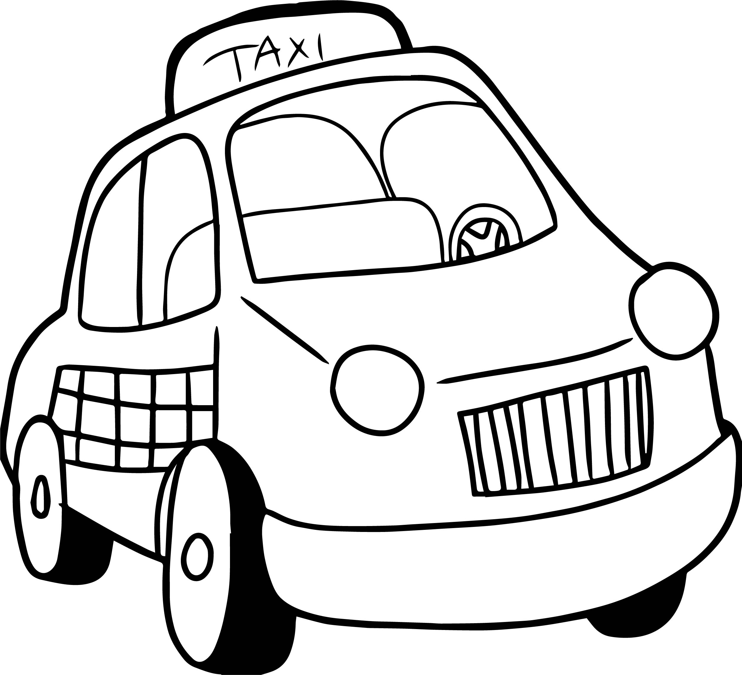 Taxi driver car cartoon coloring page for Taxi coloring page