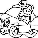 Taxi Driver Car Coming Coloring Page