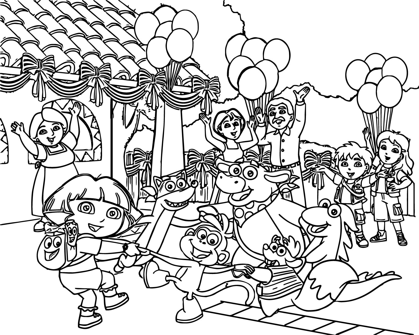 the dora the explorer party cartoon family coloring page
