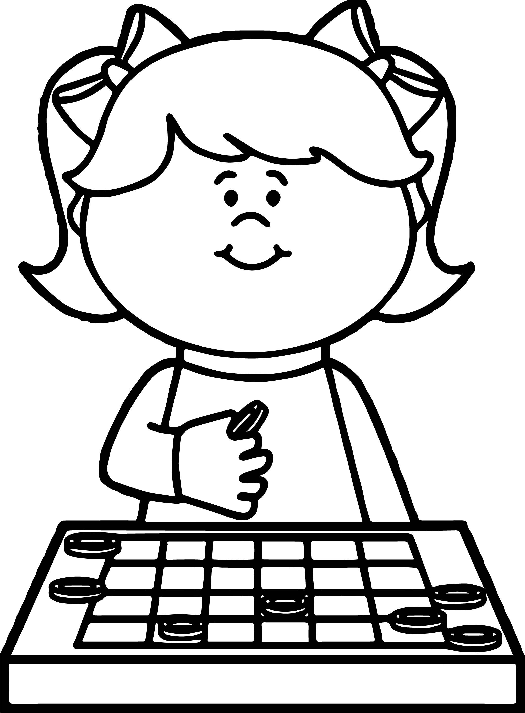 Thinking Girl Board Game Coloring Page Wecoloringpage