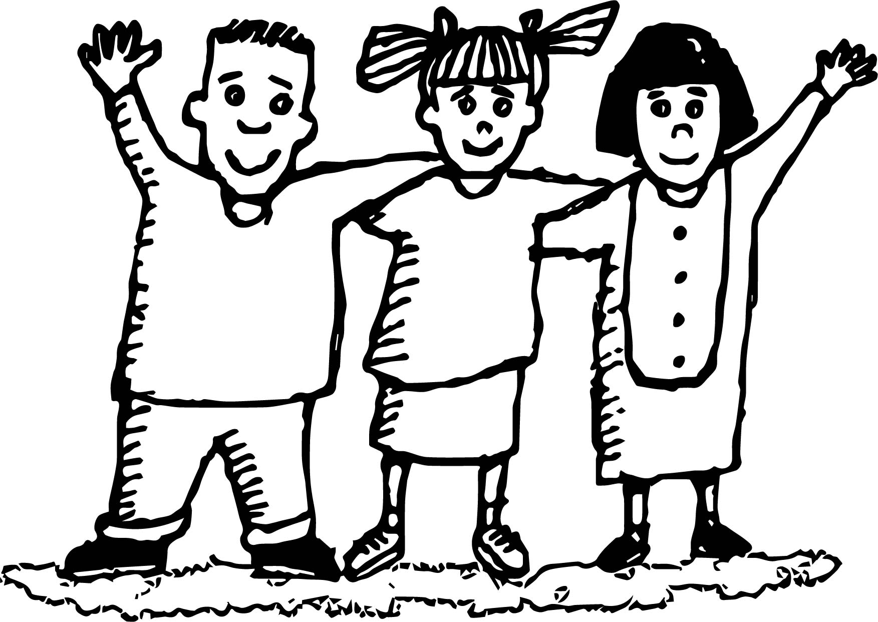 coloring pages about friendship - three friend friendship coloring page