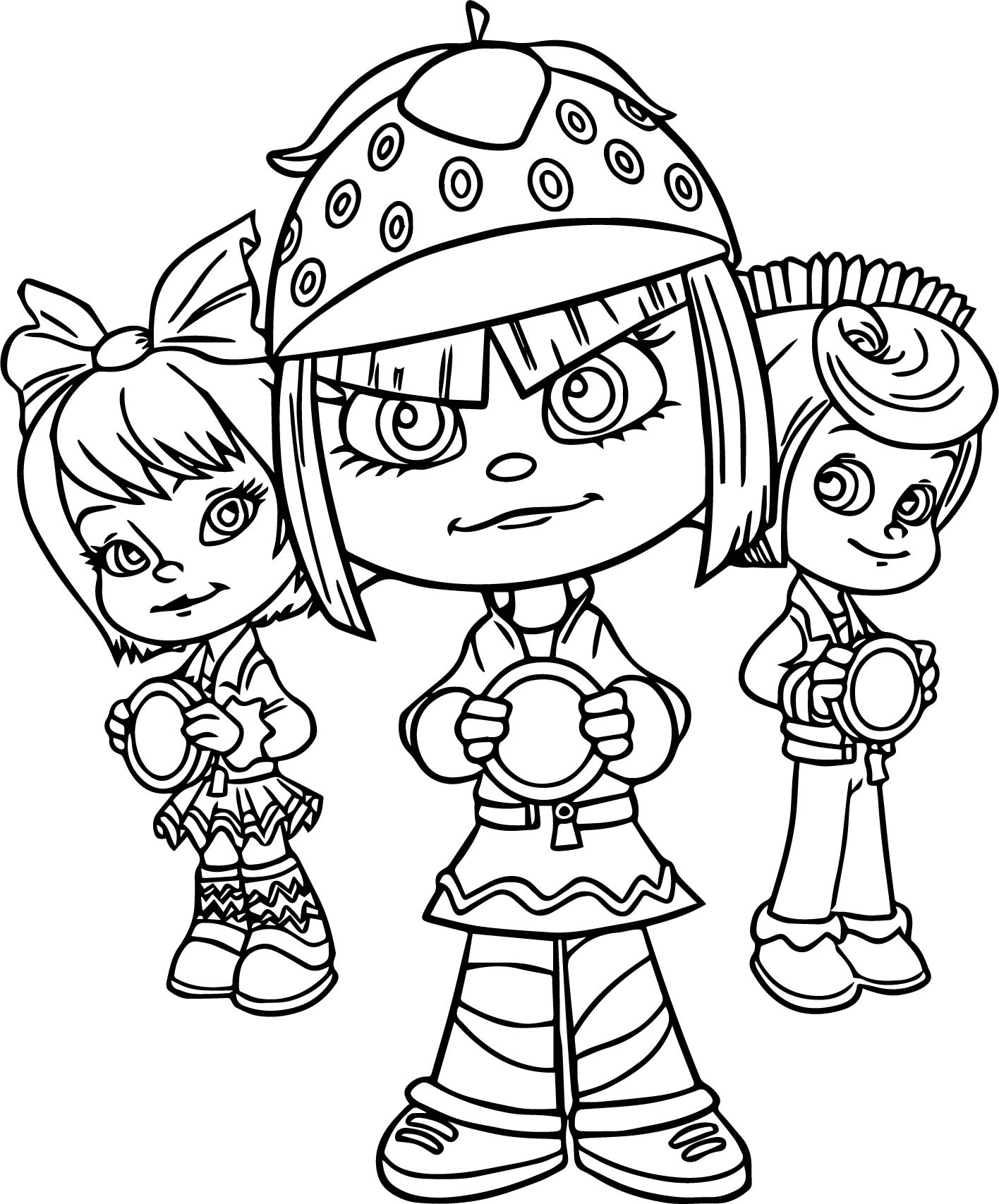 Three Girls Wreck It Ralph Adventures Coloring Page