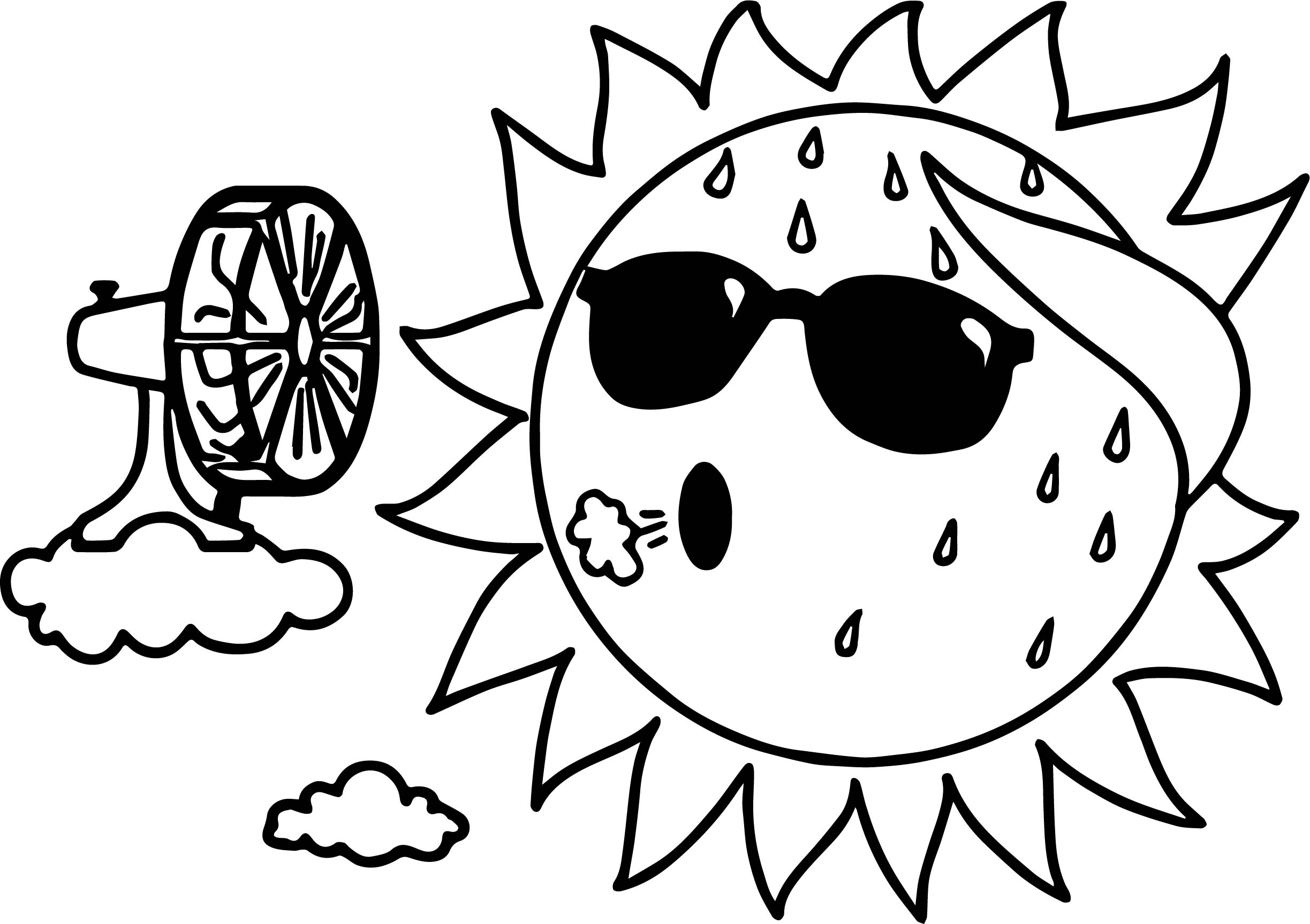 Too Hot Summer Sun Coloring Page Wecoloringpage