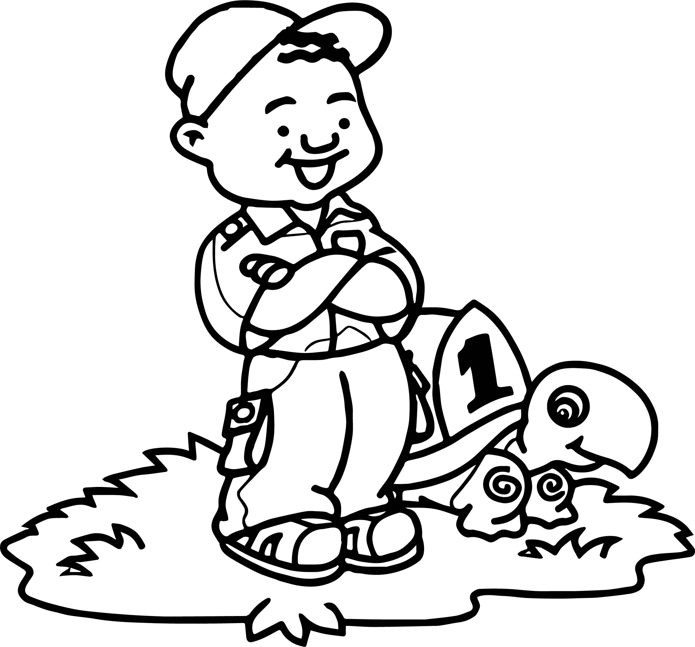Tortoise Turtle And Man Coloring Page