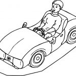 Toy Car Drive Child Coloring Page