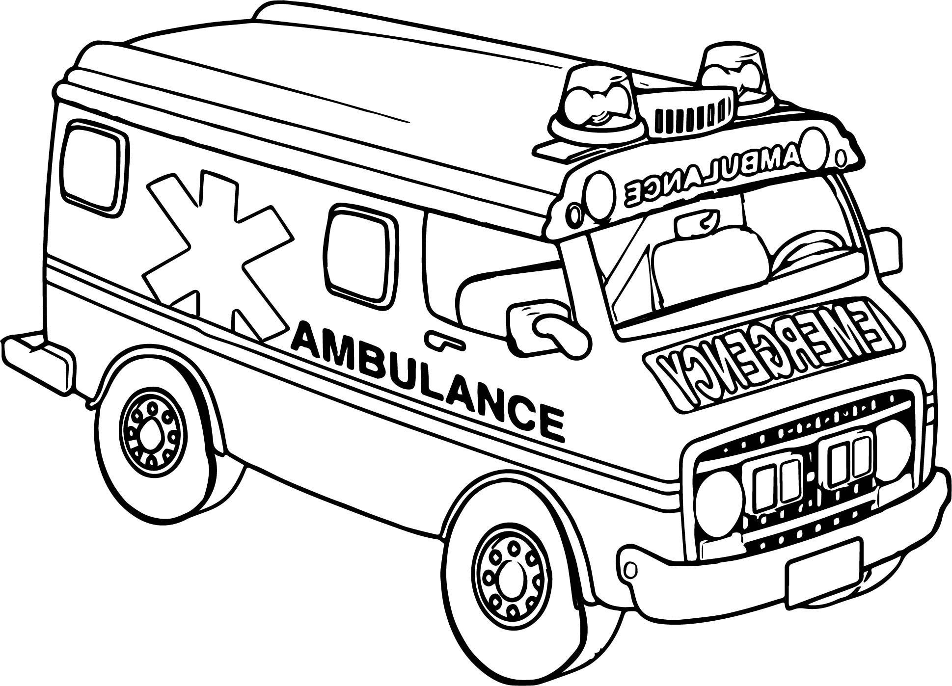 Transportation Ambulance Car Coloring Page
