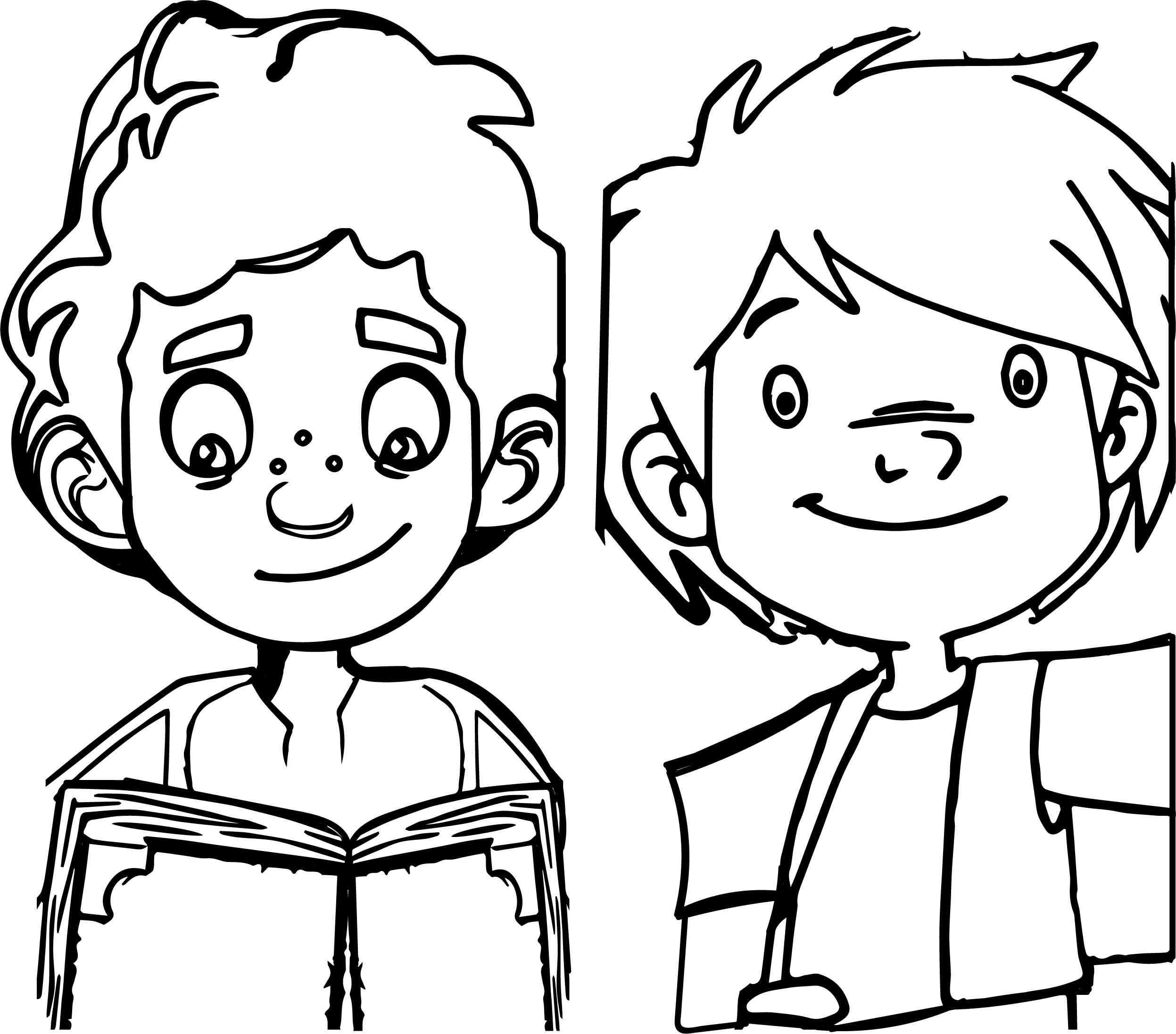 two boys coloring pages