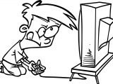 Video Games Cartoon Kid Playing Computer Games Coloring Page