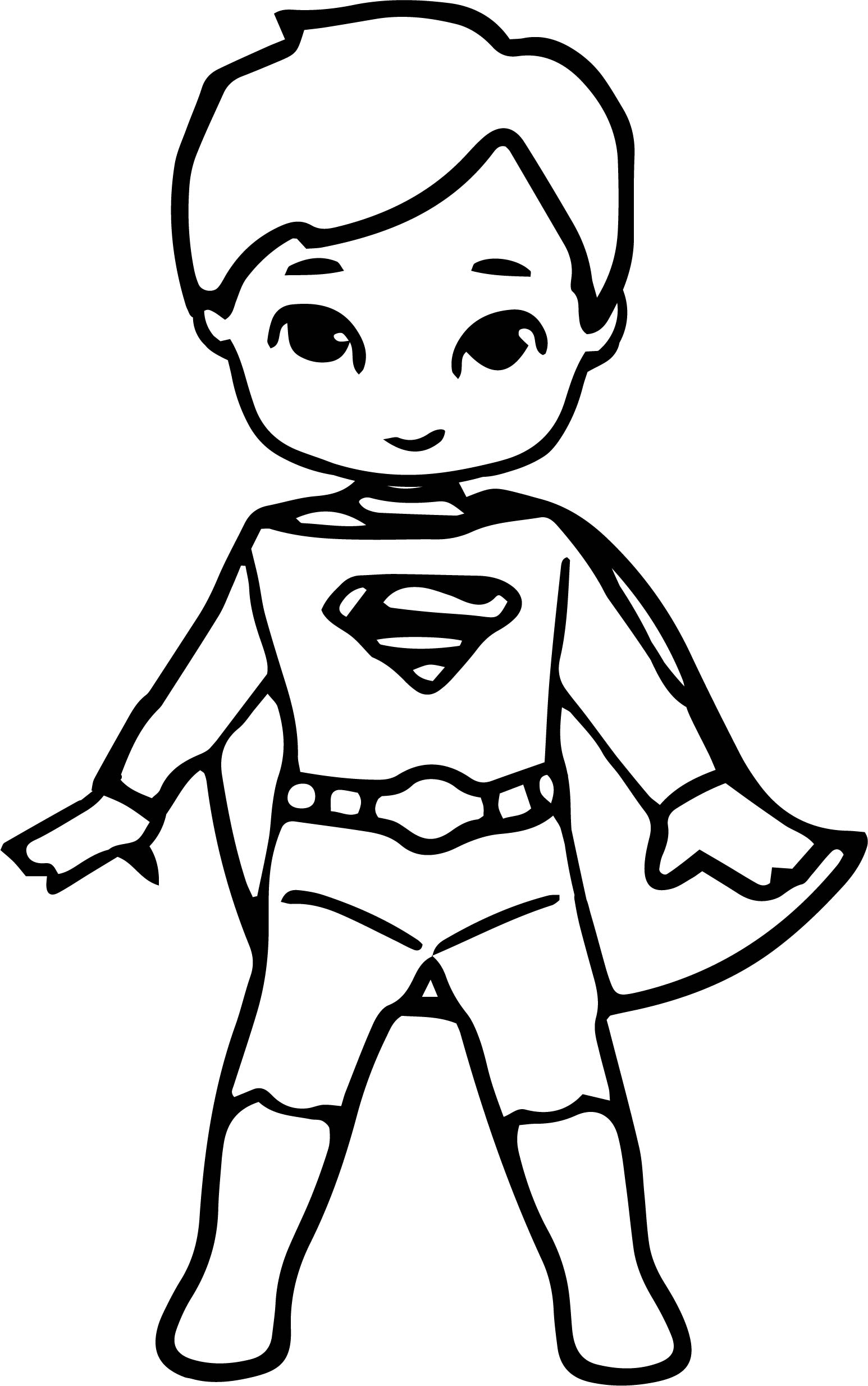 Waiting Cartoon Superhero Superman Kid Coloring Page