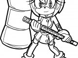 Warrior Amy Rose Full Coloring Page