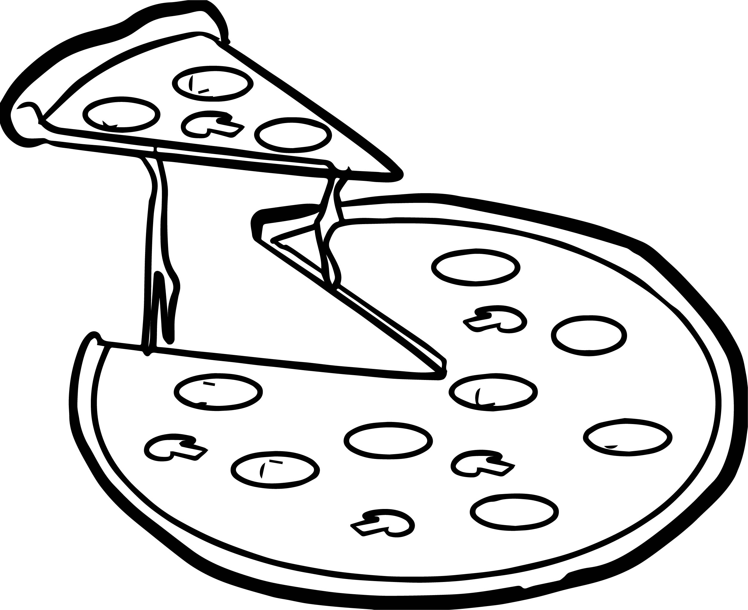 Whole Pizza Coloring Page Wecoloringpage