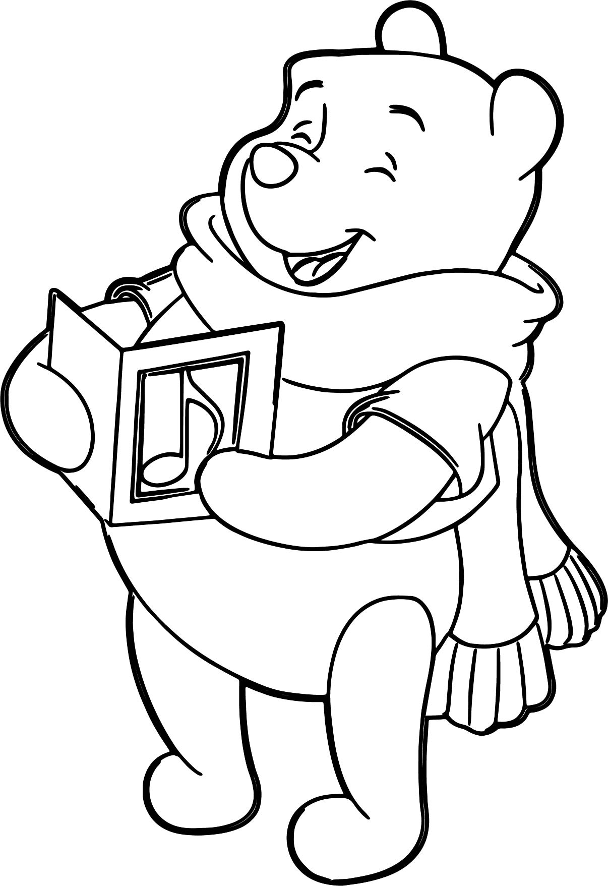 Winnie The Pooh With Scarf Music Song Coloring Page