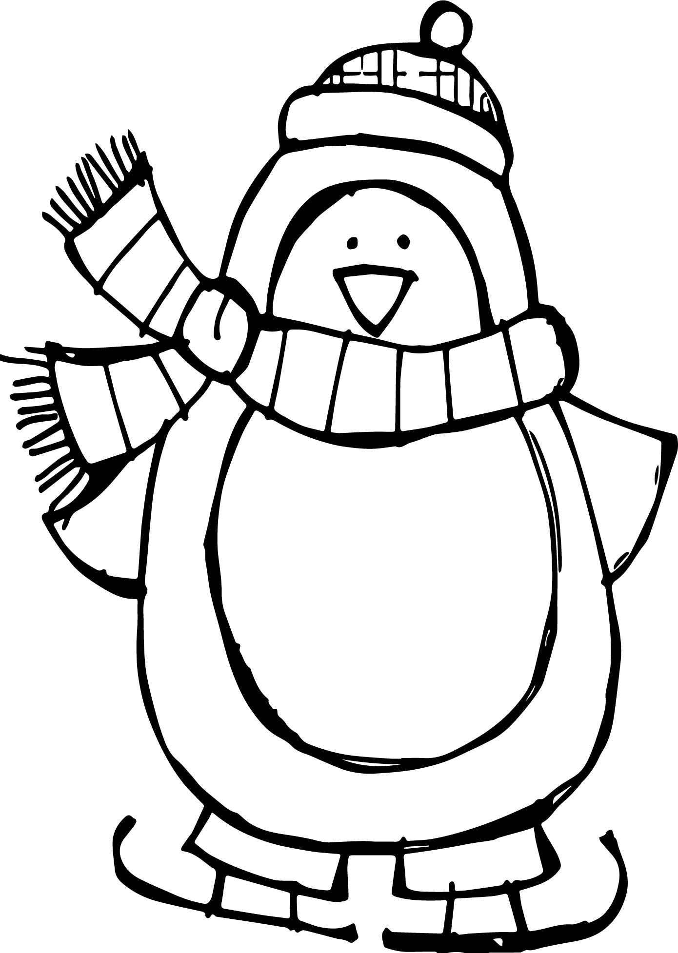 Winter basic penguin coloring page for Free coloring pages of penguins