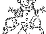 Winter Child Making Snowman Coloring Page
