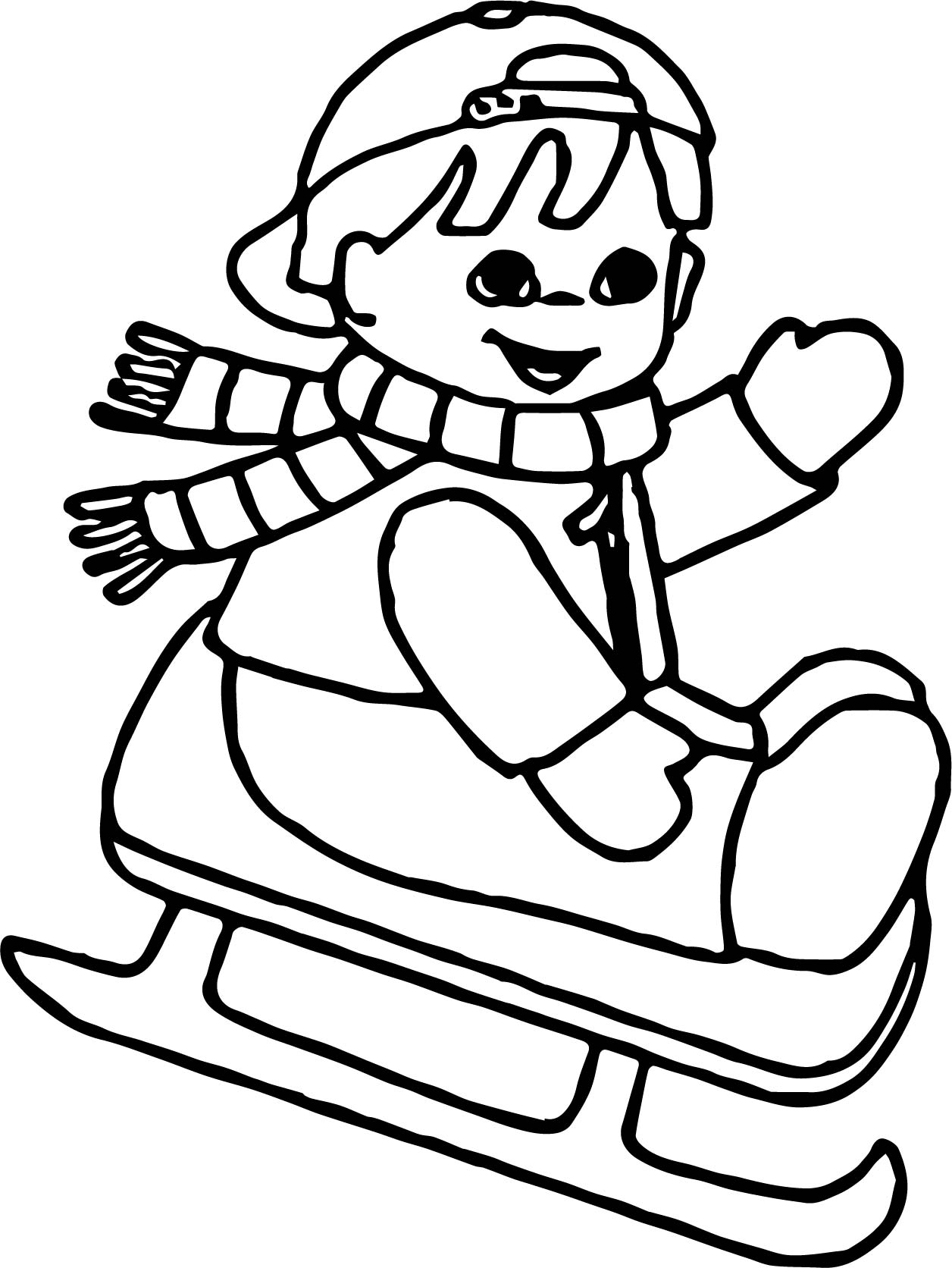 winter child slide coloring page wecoloringpage