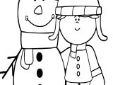 Winter Girl And Snowman Coloring Page