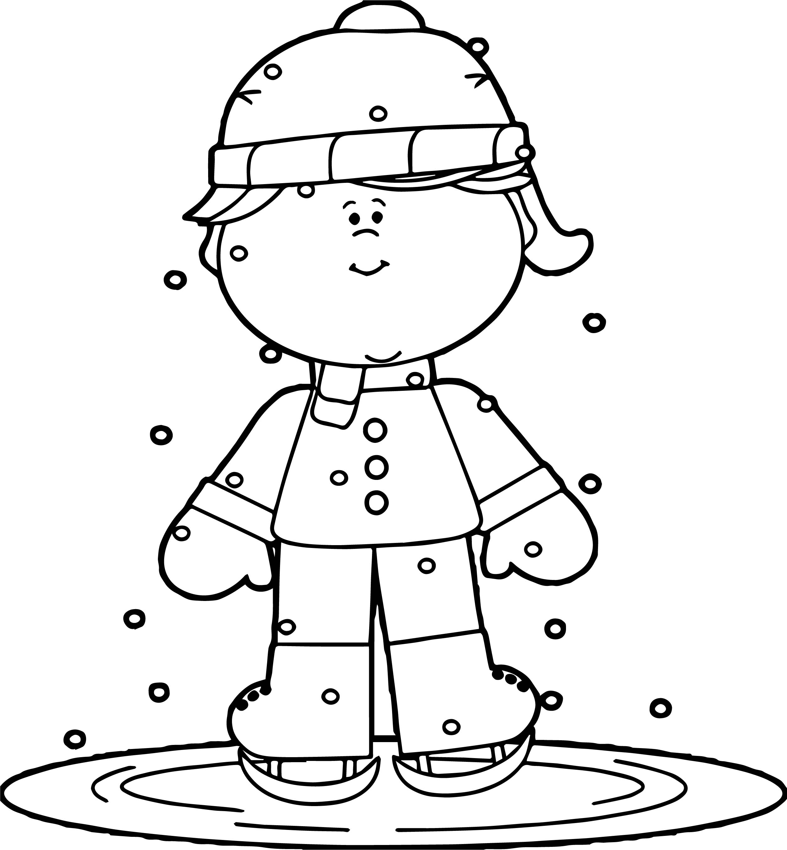 Winter Girl Ice Skating Coloring Page