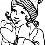 Winter Girl Snowball Coloring Page