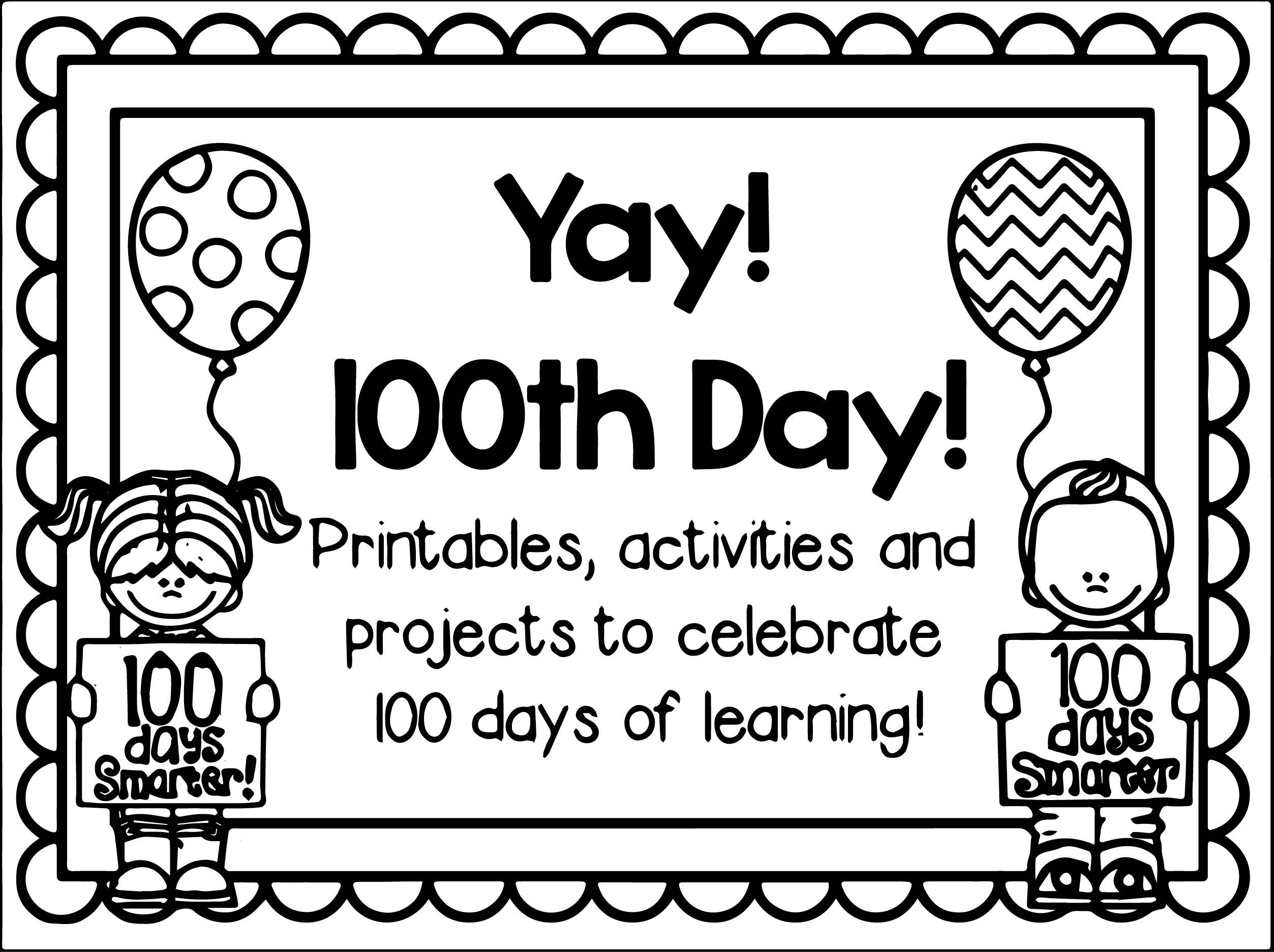 100th Day Of School Yay Coloring Page Wecoloringpage