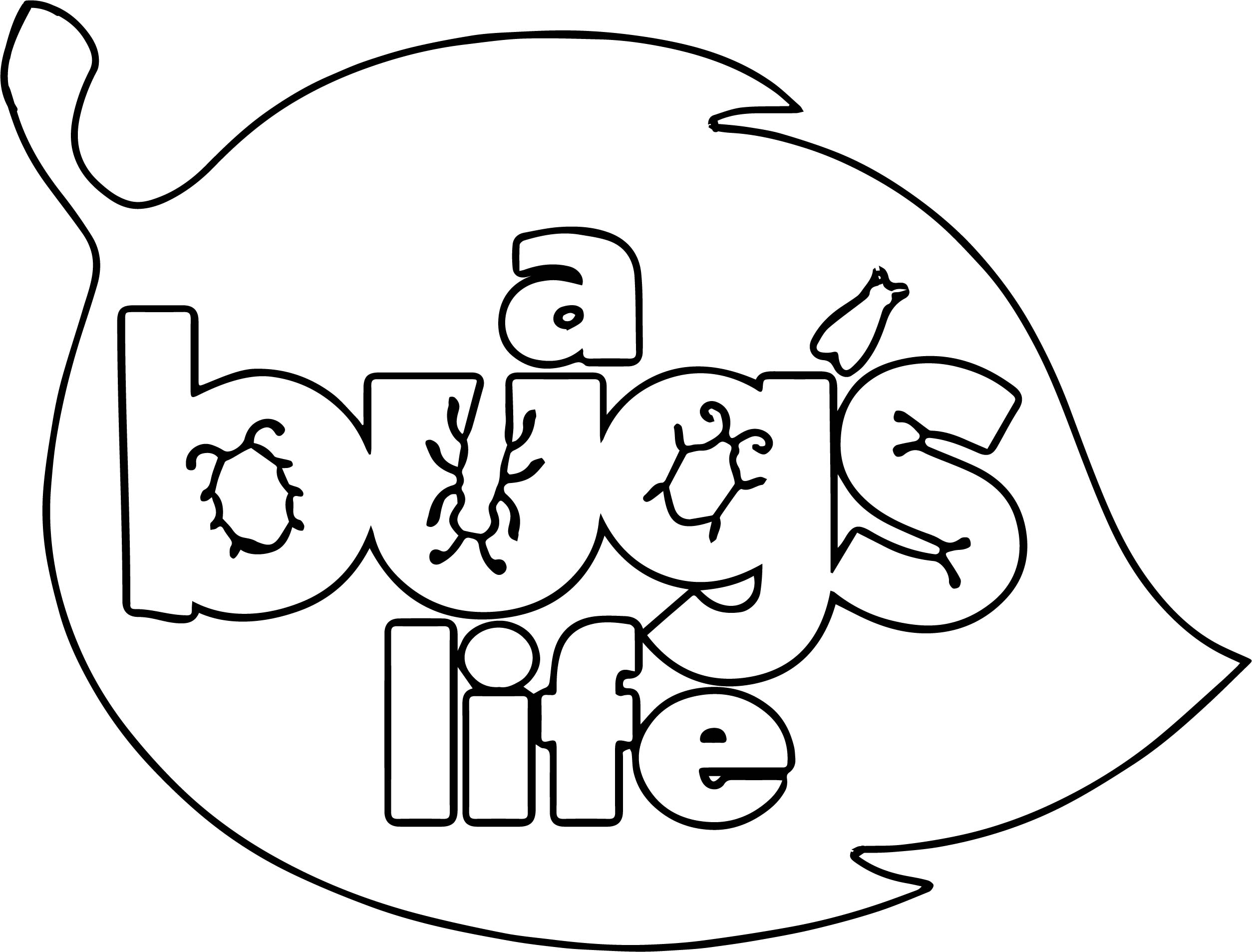 A bugs life logo leaf coloring page for Bugs life coloring pages