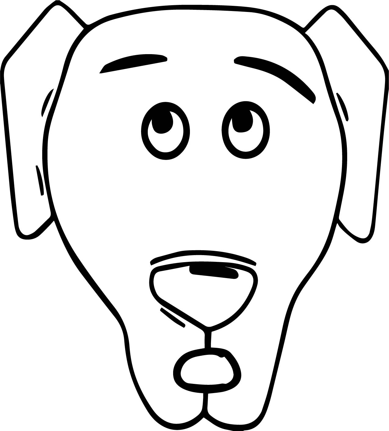 A dog face coloring page for Face coloring pages