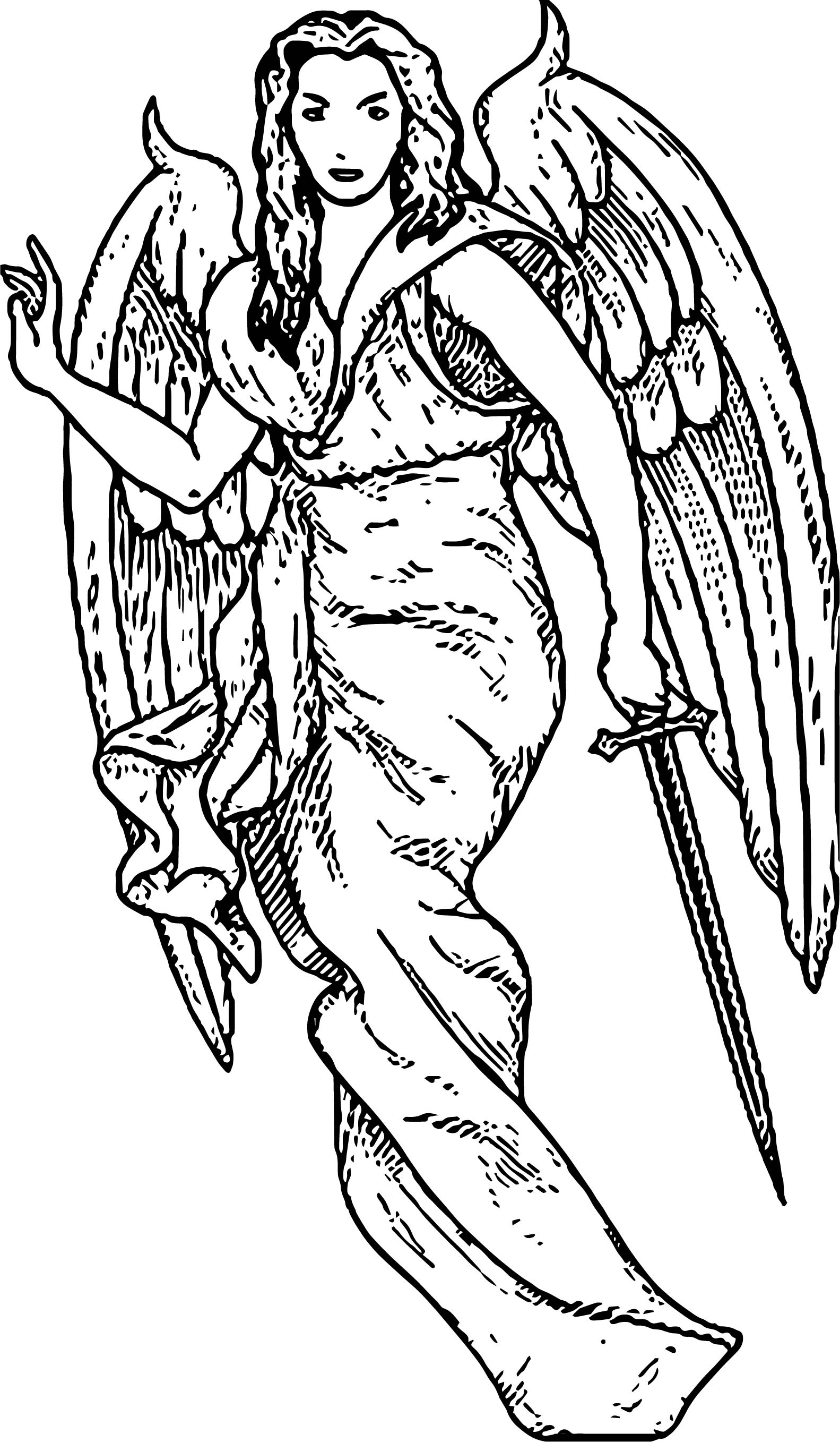 Advanced Angel Coloring Page