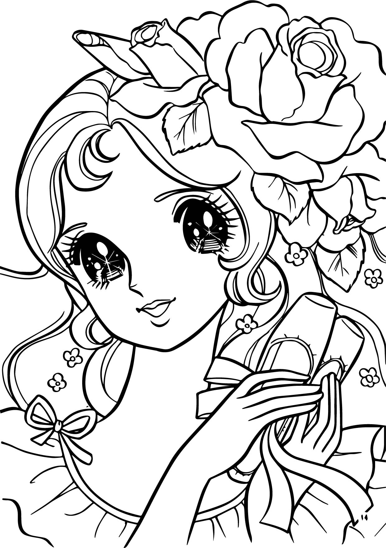 coloring page girl - aeromachia girl flower hair coloring pages