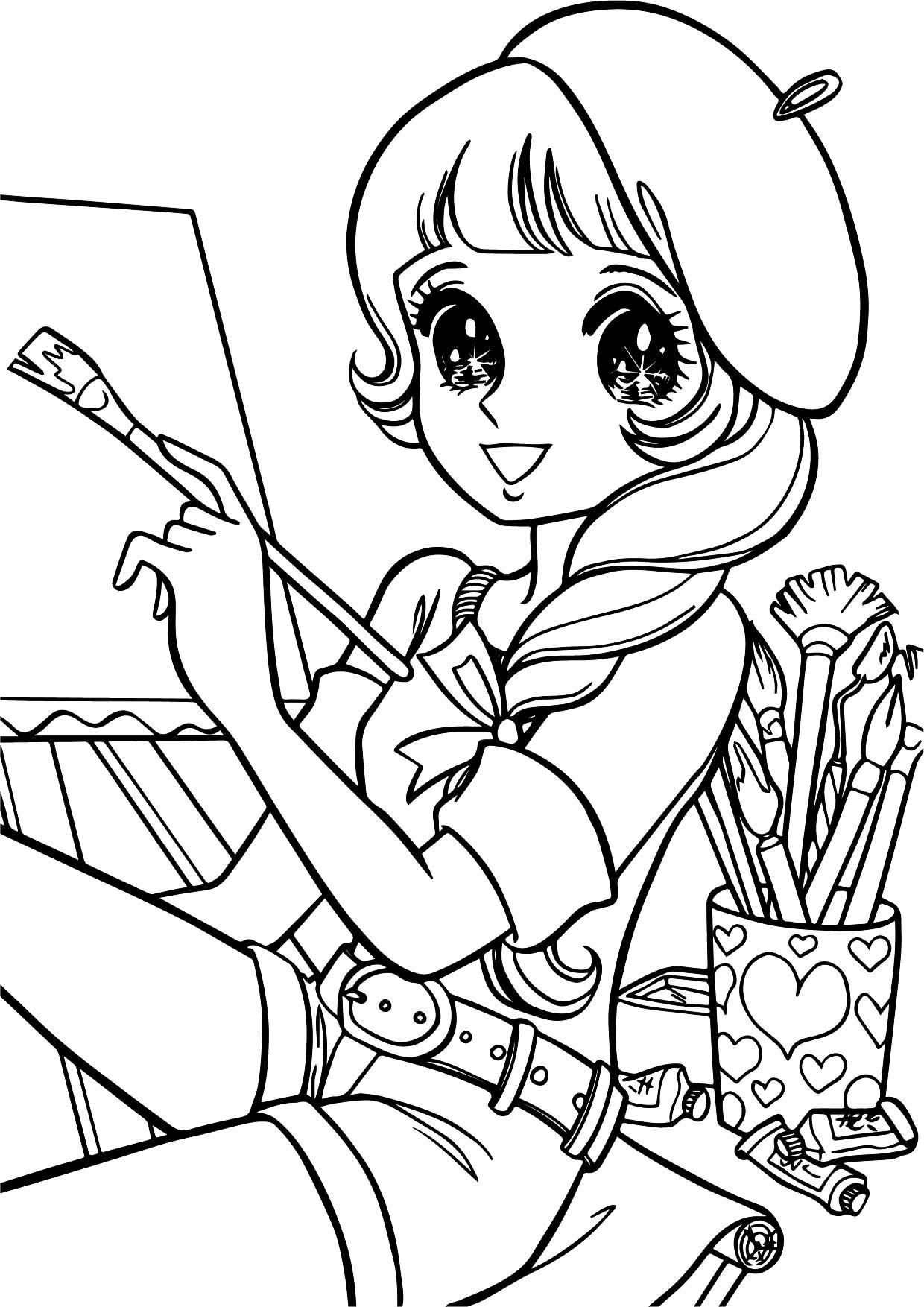 Aeromachia shojo manga no memory painter girl coloring for Manga girl coloring pages