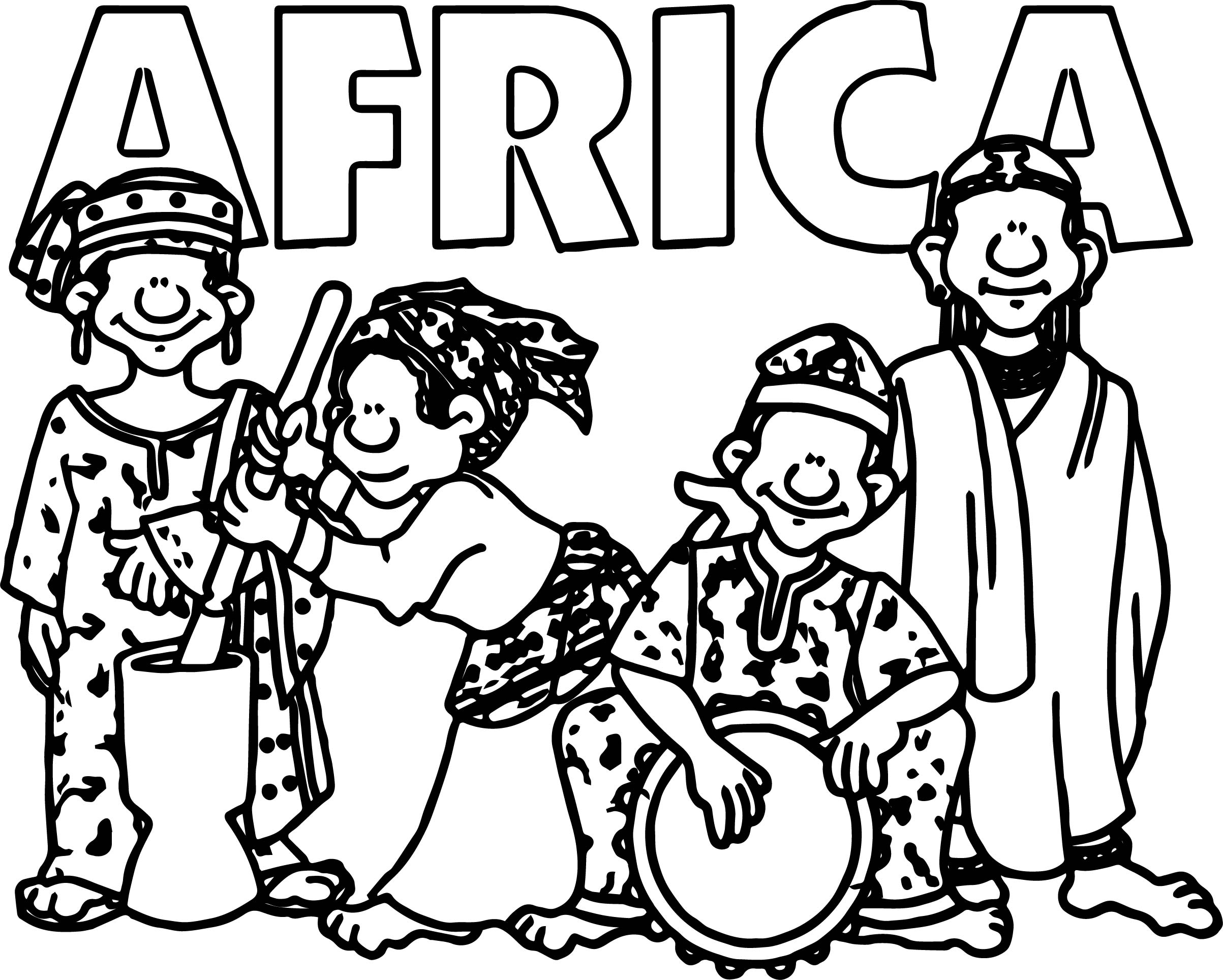 African welcome group coloring page for Africa coloring pages
