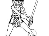 Ahsoka Tano Fighting Pose Coloring Page