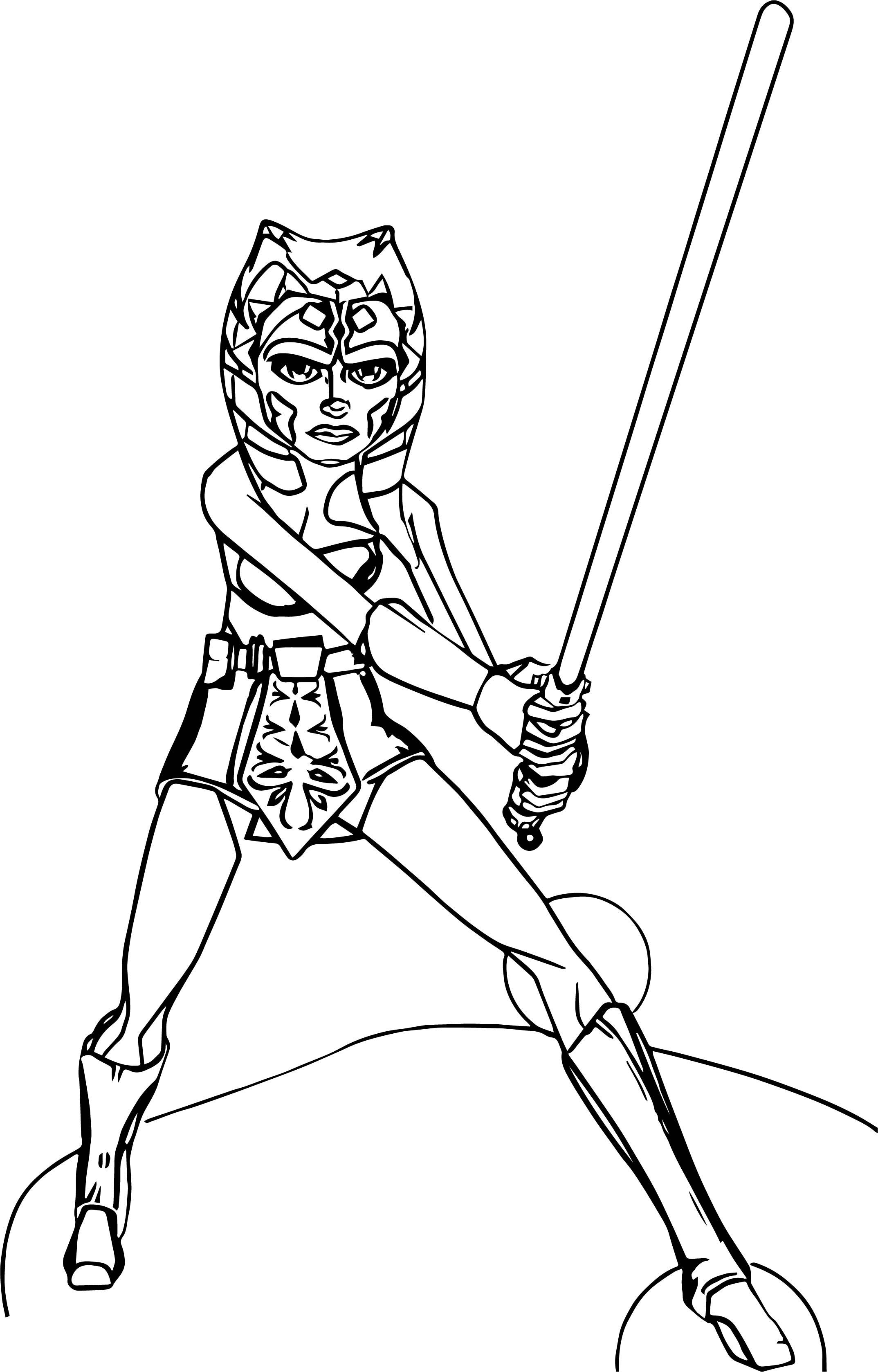 Ahsoka Tano Fighting Pose Coloring Page