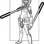 Ahsoka Tano Two Blade Coloring Page