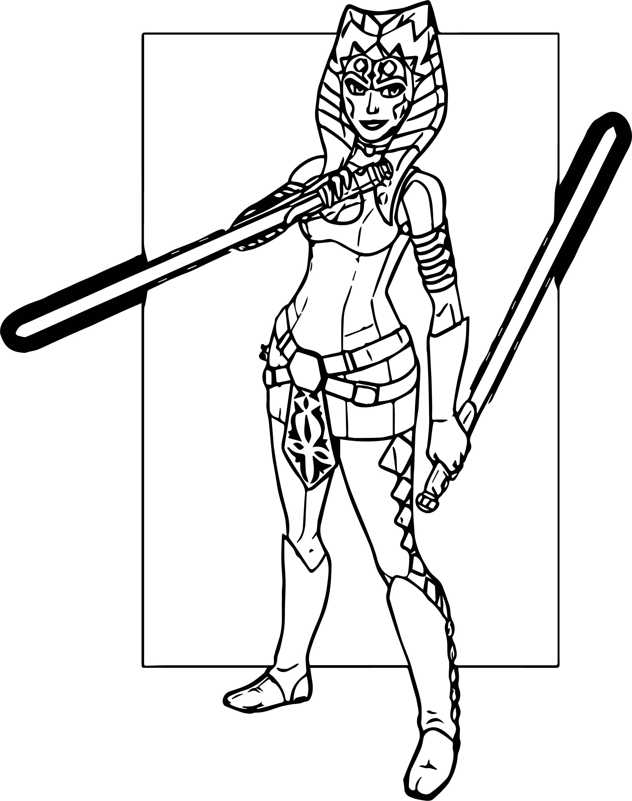 Ahsoka Tano Two Blade Coloring Page