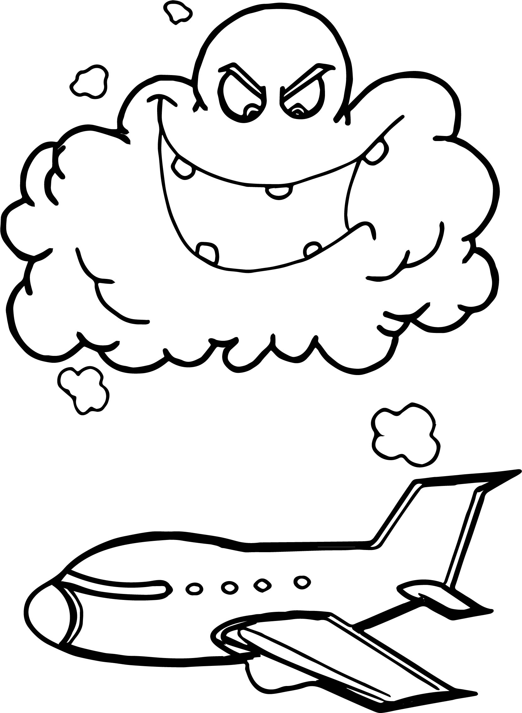 Airplane Flying Through Storm Clouds Cartoon Coloring Page
