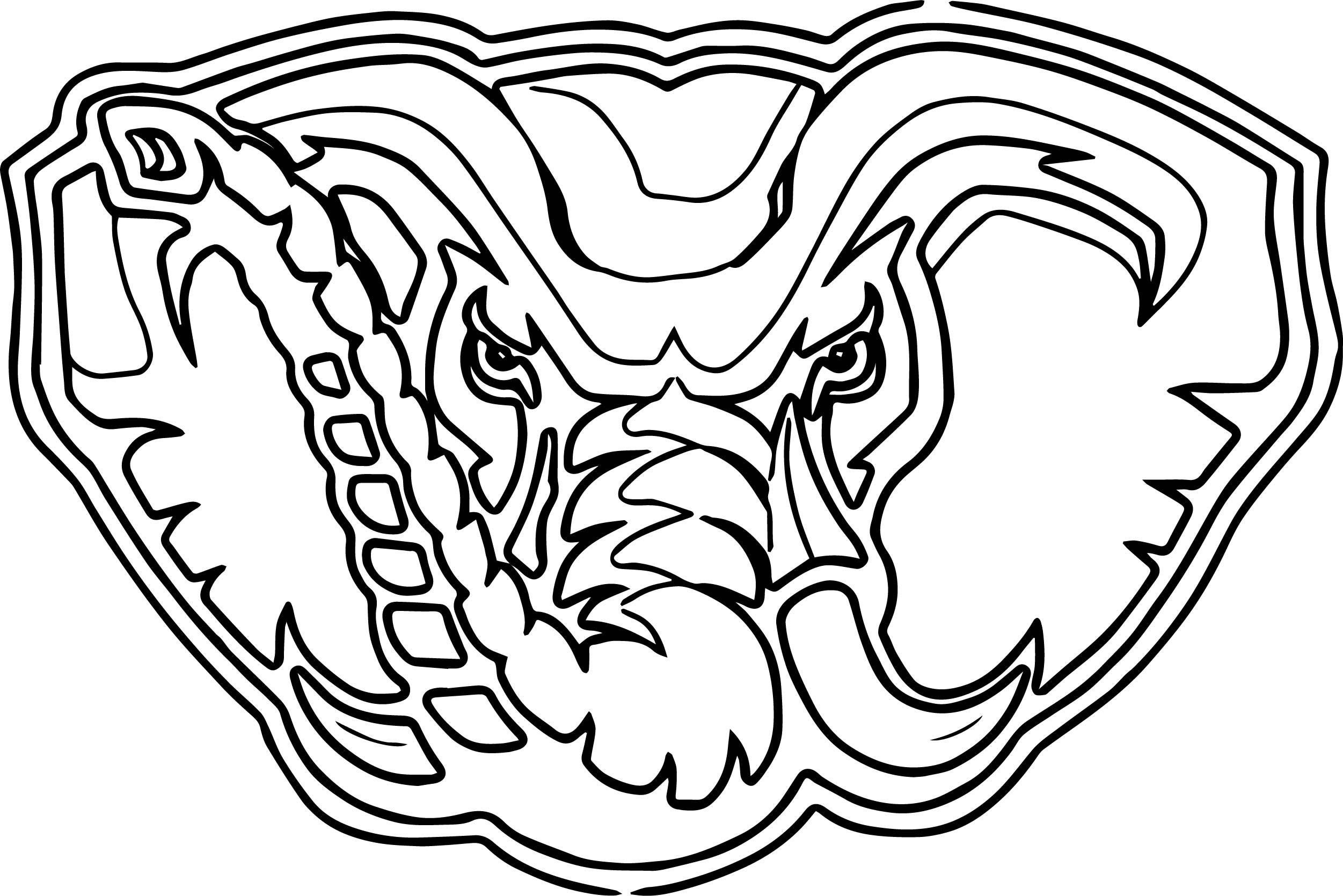 Alabama Elephant Face Outline Coloring