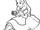 Alice Drink Tea Coloring Page