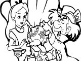 Alice In Wonderland 60th Alice Drink Tea Coloring Page