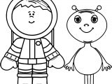 Alien And Astronout Coloring Page