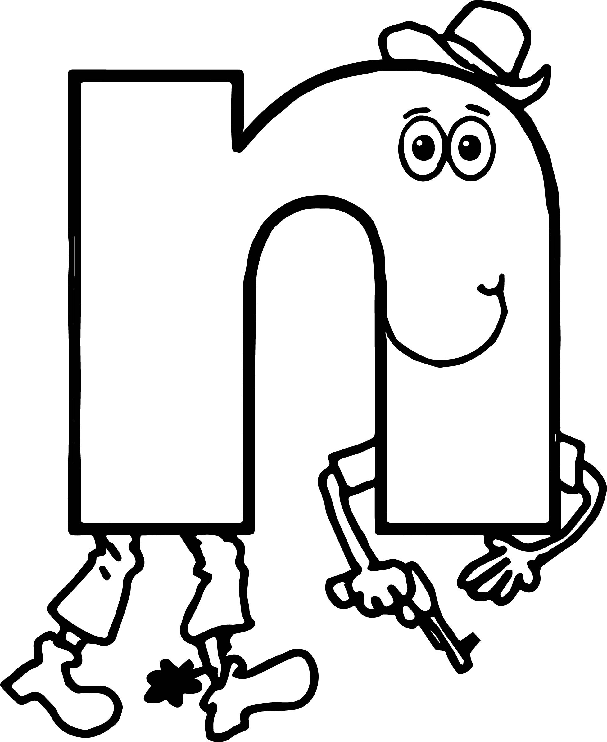 Alphabet For Kids Alphabet N Coloring Page